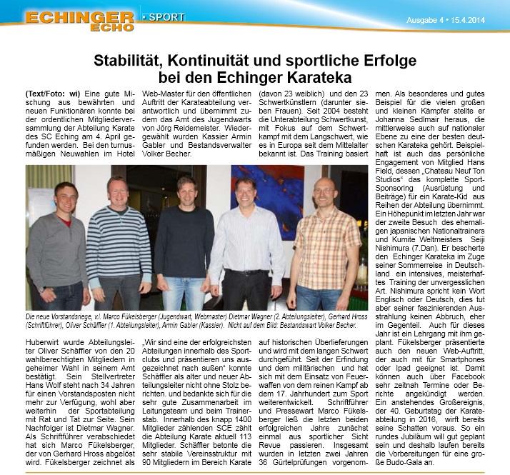 Zeitungsartikel 15.04.2014 Echinger Echo